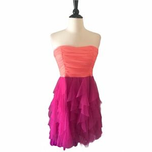 Pink Ruffle Cocktail Party Juniors Dress Size 9
